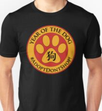 Year of the Dog Chinese New Year Adopt Don't Shop Golden Yellow Paw Print Unisex T-Shirt