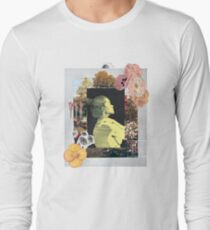 Lady & Flowers Surreal Abstract Art Collage Design Long Sleeve T-Shirt