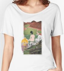 Serenity Lady Enjoying The View Surreal Abstract Collage Women's Relaxed Fit T-Shirt