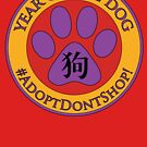 Year of the Dog Chinese New Year Adopt Don't Shop Purple Paw Print by PyramidPrintWrx