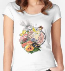 Colorful Flower Blindfolded Angel Surreal Abstract Collage Women's Fitted Scoop T-Shirt