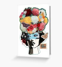 Flower Lady Colorful Surreal Abstract Art Design Greeting Card
