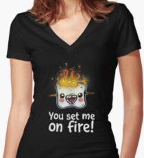 Hot Marshmallow Women's Fitted V-Neck T-Shirt