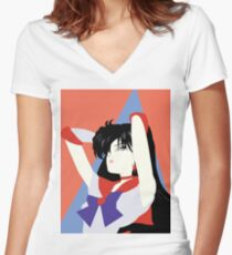 Sailor Mars (Patrick Nagel style) Women's Fitted V-Neck T-Shirt