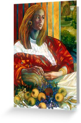 sitting lady with fruit by elisabetta trevisan