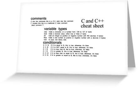 C and c cheat sheet c c cheat sheet comments variable c and c cheat sheet c c cheat sheet comments variable types conditionals greeting cards by znamenski redbubble m4hsunfo