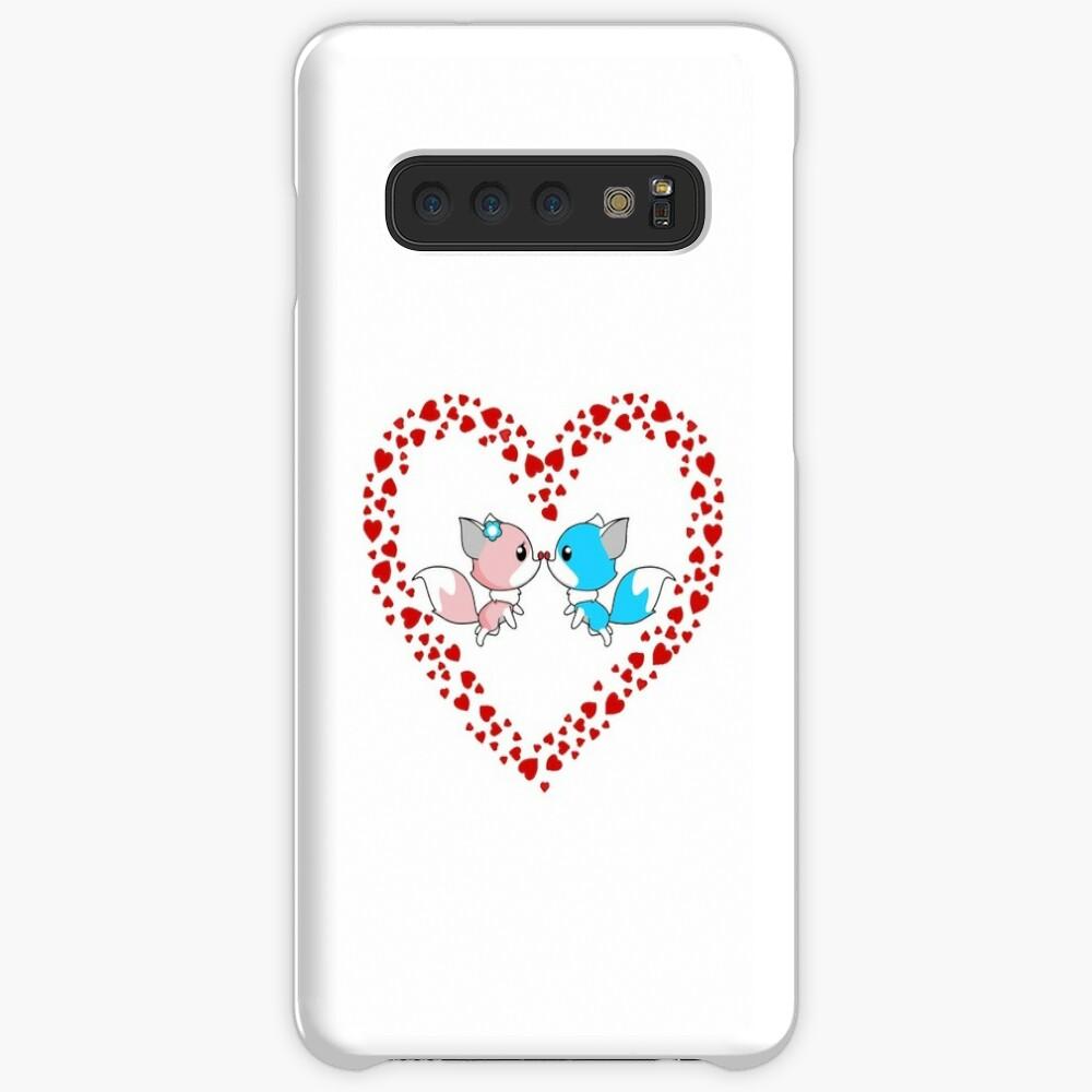 Füchse für den Valentinstag Hülle & Klebefolie für Samsung Galaxy