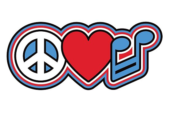 Peace Love Music Symbols Posters By Lisann Redbubble