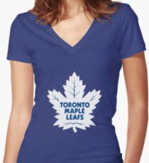 Toronto Maple Leafs Hockey Team Women's Fitted V-Neck T-Shirt
