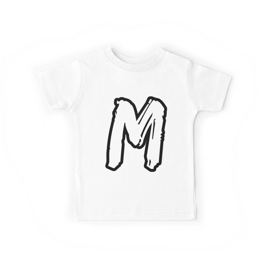 M Brush Style Capital Letter Initial T Shirt Modern Minimalist Font