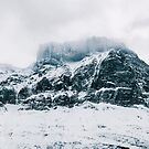 Panorama of Dramatic Nordic Mountain Peaks in Winter by visualspectrum