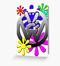 Peace hippie flowers  Greeting Card