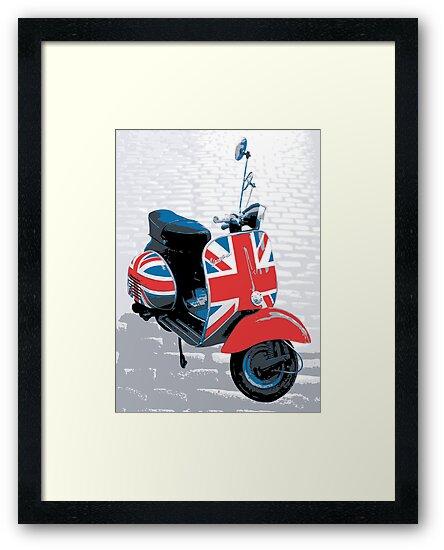 Vespa scooter mod decoration pop art print framed for Vespa decoration