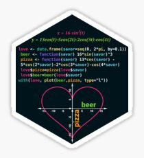Love Pizza Savor Beer Diet Valentines Day Funny Gift RLang Data Science Heart Graph on a Coordinate System, R Plot Sticker
