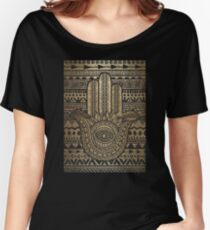 Native Pattern Golden Hamsa Hand Women's Relaxed Fit T-Shirt
