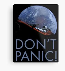 Spacex DON'T PANIC In Space Metal Print
