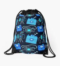 Black & Blue Shutter Bug Retro Cameras Drawstring Bag