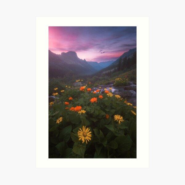 Landscape with flowers. Art Print