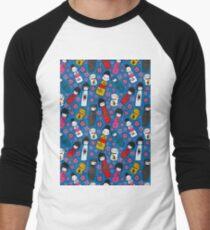Juicy Blue Kokeshi Dolls Men's Baseball ¾ T-Shirt