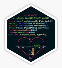 Math Lover Blissful Time Valentines Day Funny Gift RLang Data Science Love Heart Graph on a Coordinate System, R Plot Sticker