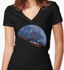 Spacex Starman In Orbit Women's Fitted V-Neck T-Shirt