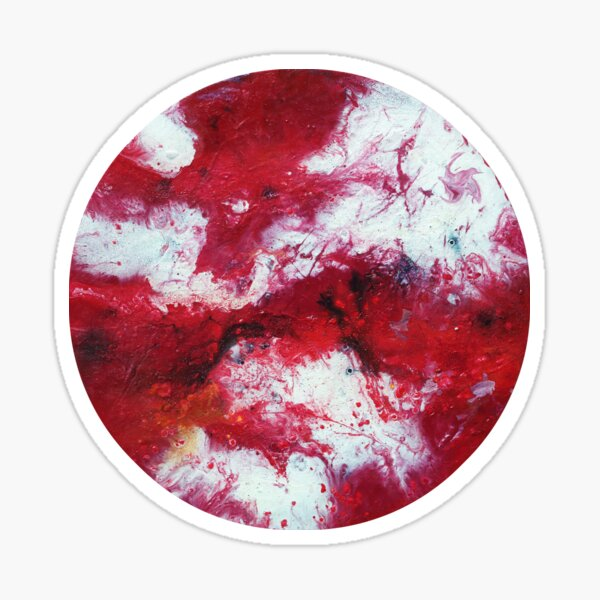 Round red and white fluid painting Sticker