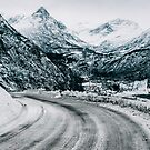Frozen Road to Geiranger During Moody Winter Day (Norway) by visualspectrum