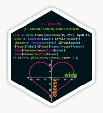 Love Cheese Savor Wine Valentines Day Funny Gift RLang Data Science Love Heart Graph on a Coordinate System, R Plot Sticker
