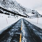 Driving Norway - Road Through Mountainous White Winter Landscape by visualspectrum