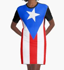 Puerto Rico Flag Vertical Graphic T-Shirt Dress