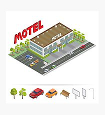 Isometric Building. Motel with Parking. Isometric Motel.  Photographic Print
