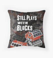 Still Plays With Blocks Throw Pillow