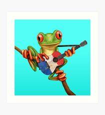 Baum-Frosch, der französische Flaggen-Gitarre spielt Kunstdruck