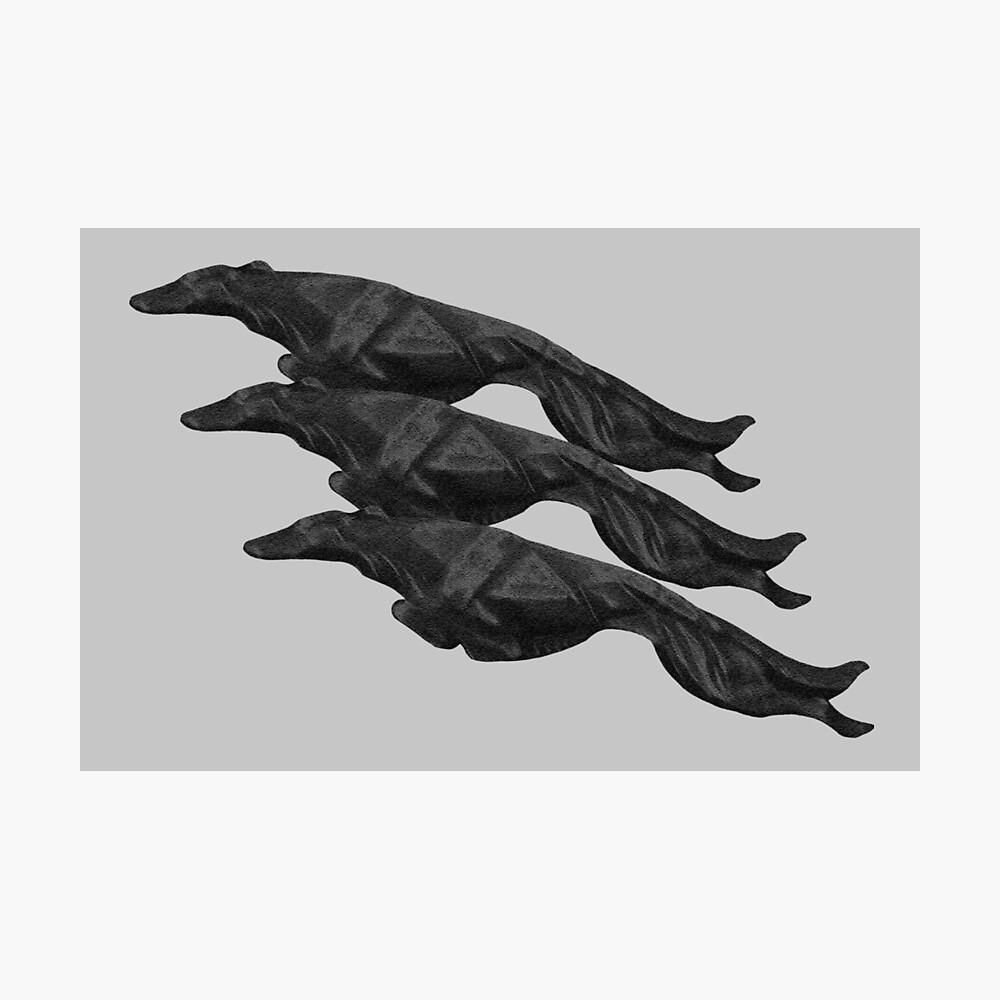 Art Deco Three Leaping Borzoi Charcoal Photographic Print