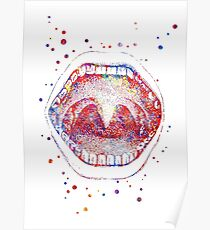 Mouth, mouth anatomy, human mouth, watercolor mouth Poster