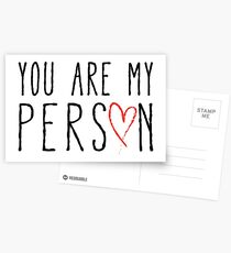 You are my person, text design with red scribble heart Postcards