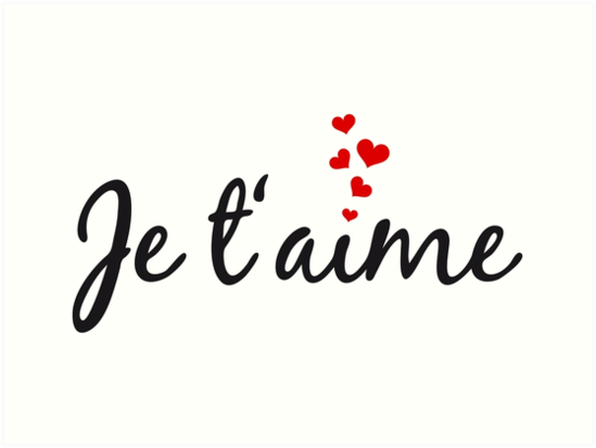 Je Taime I Love You French Word Art With Red Hearts Art Print By Beakraus