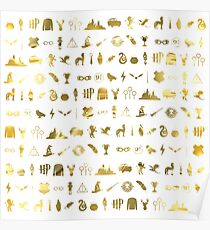 HP symbols - pattern / texture (liquid gold) - hallows, brooms, houses, always, wand, cloak - gift idea Poster