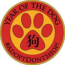 Year of the Dog Chinese New Year Adopt Don't Shop Red Paw Print by PyramidPrintWrx
