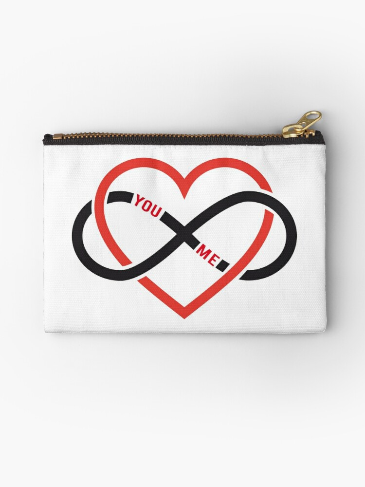 Never Ending Love Red Heart With Infinity Sign Studio Pouches By