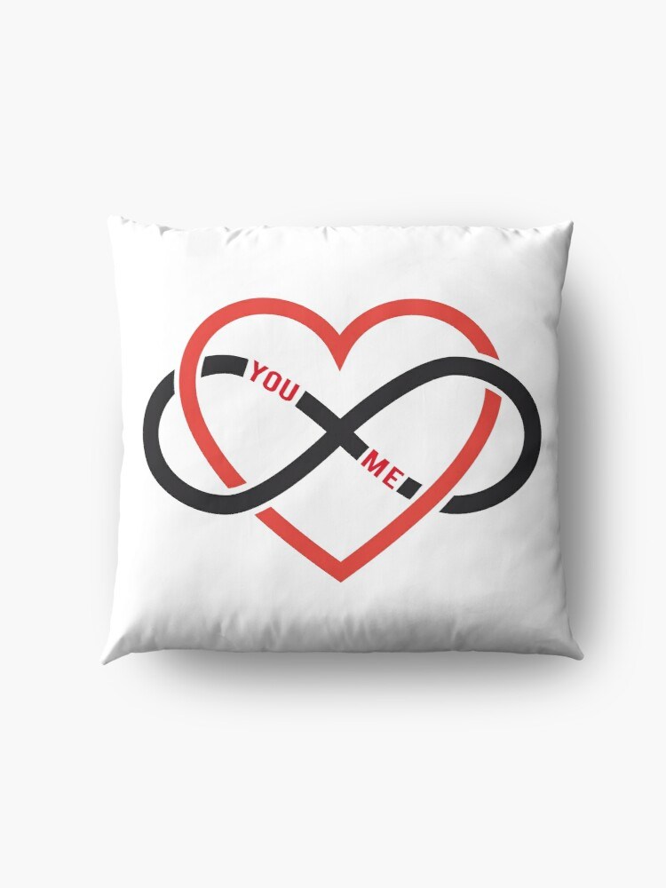 Never Ending Love Red Heart With Infinity Sign Floor Pillows By