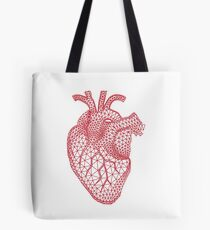 red human heart with geometric mesh pattern Tote Bag
