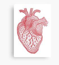 red human heart with geometric mesh pattern Metal Print