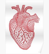 red human heart with geometric mesh pattern Poster