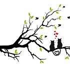 Cats in love with red hearts on spring tree by beakraus