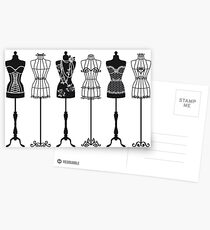 Vintage fashion mannequins silhouettes Postcards