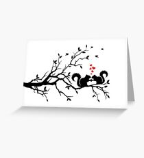 squirrels on tree branch with red hearts Greeting Card