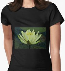 Lemon Water Lily in Low Light Womens Fitted T-Shirt