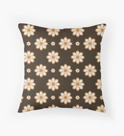 Orange on Brown Geometrical Flowers Retro Pattern Throw Pillow