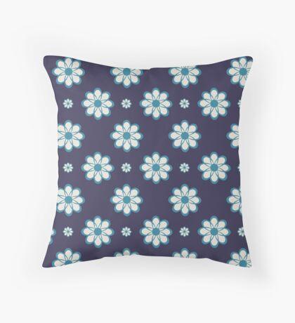 Robins Egg Blue on Purple Geometrical Flowers Retro Pattern Throw Pillow